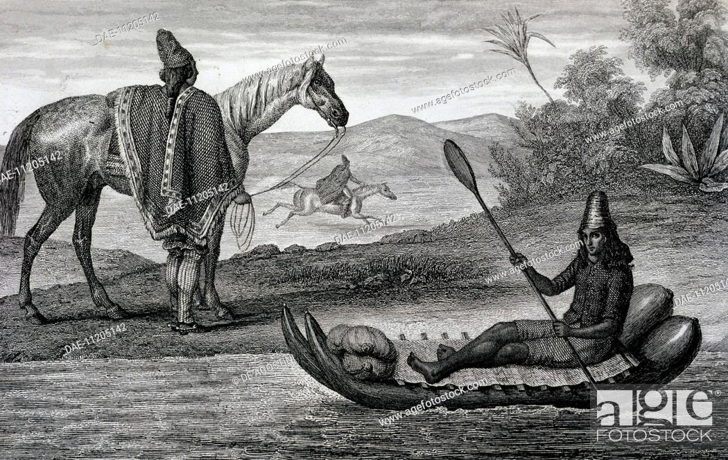 Imagen: Chilean native on a balsa boat, engraving from the voyage undertaken by Pierre Adolphe Lesson (1805-1888), 1838. South America, 19th century.