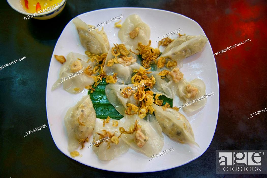 Stock Photo: Banh bao vac, white rose dumplings, a specialty of Hoi An, Vietnam.