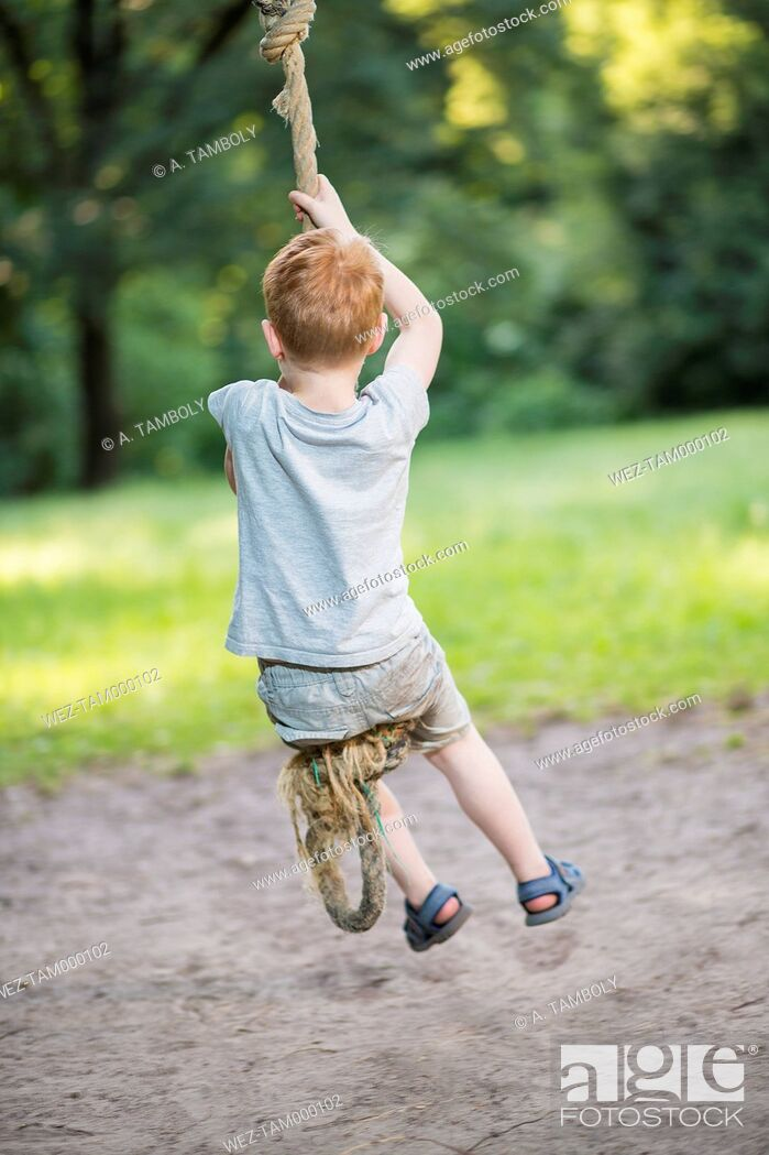 Imagen: Back view of little boy swinging with rope in a park.