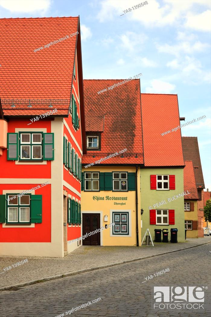 Stock Photo: Dinkelsbühl, Bavaria, Germany, Europe  Traditional Bavarian architecture in medieval old town on the Romantic Road Romantische Strasse.