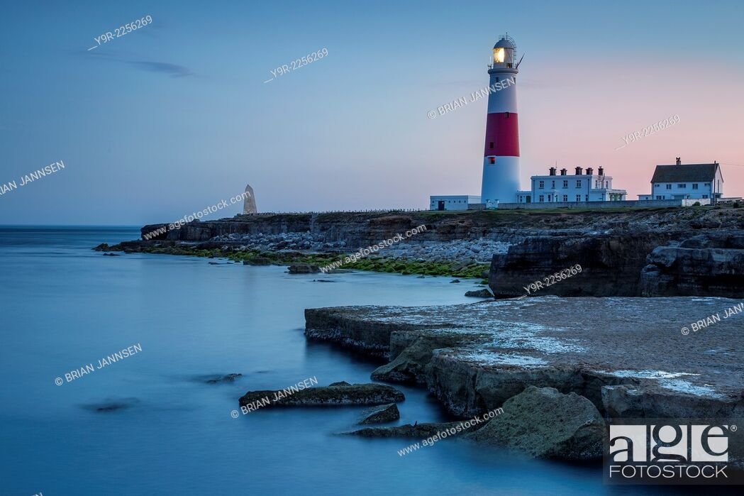 Stock Photo: Twilight at the Portland Bill Lighthouse, Dorset, England.