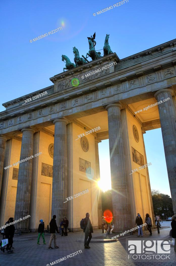 Stock Photo: The Brandenburg Gate at sunset, Berlin, Germany.