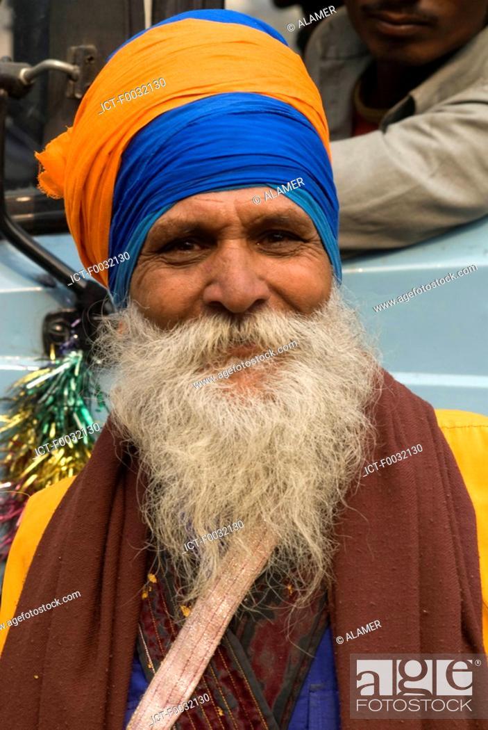 Stock Photo: India, New Delhi, sikh during the anniversary of the martyr of Guru Tegh Baradur.