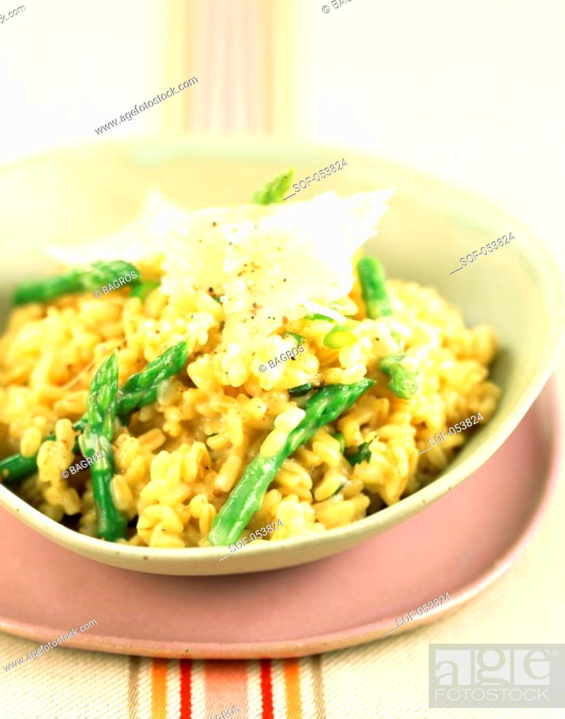 Stock Photo: wheat risotto with green asparagus.