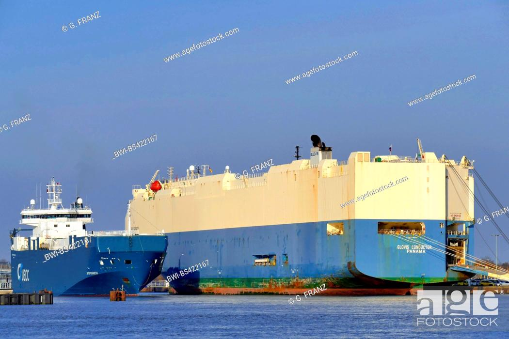 two car carrier ships in harbour Kaiserhafen, Germany
