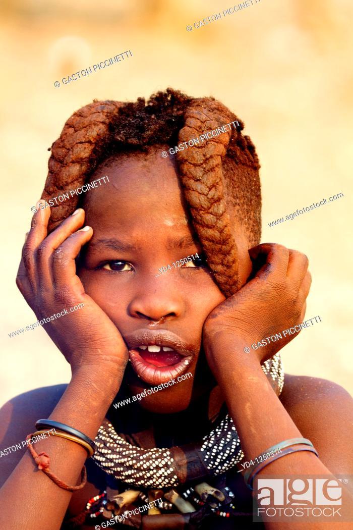 Stock Photo: Himba boy, Kaokoland, Kunene region, Namibia.