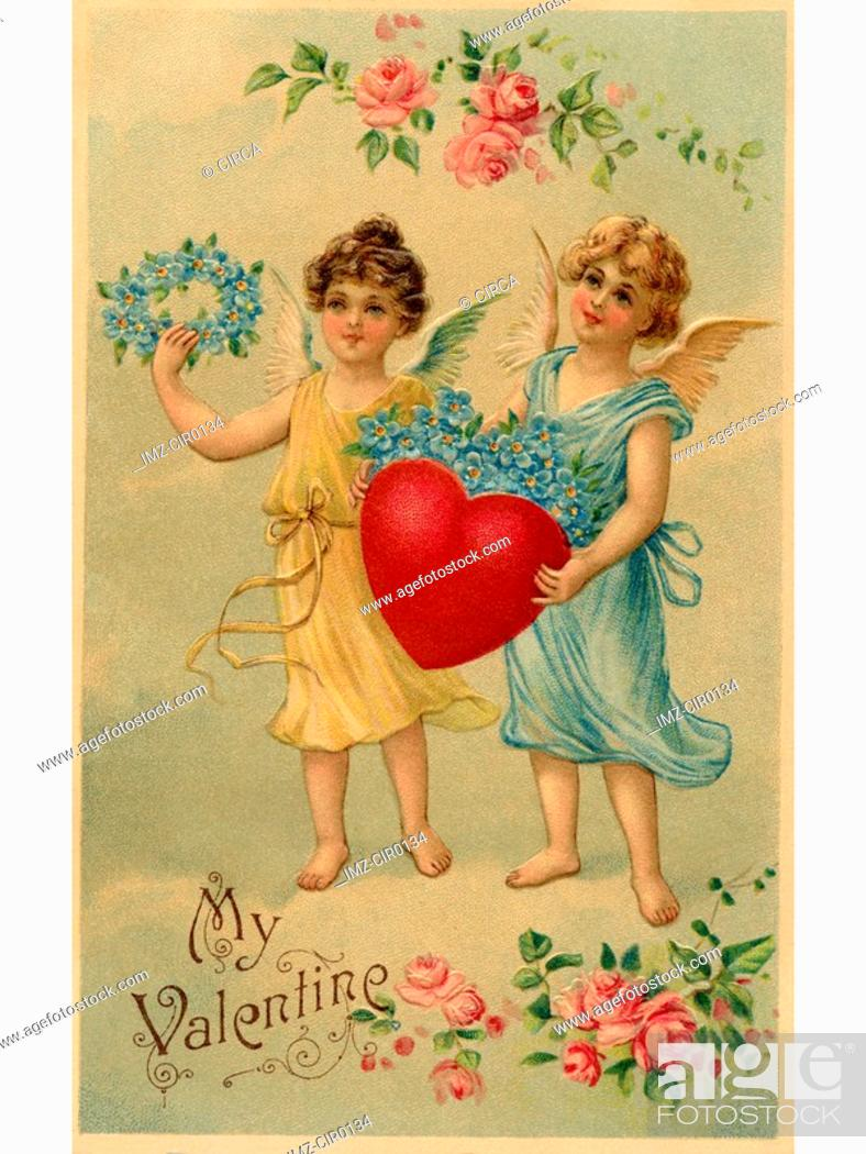 Stock Photo: A vintage Valentine postcard with two angels holding a heart and forget-me-not flowers.