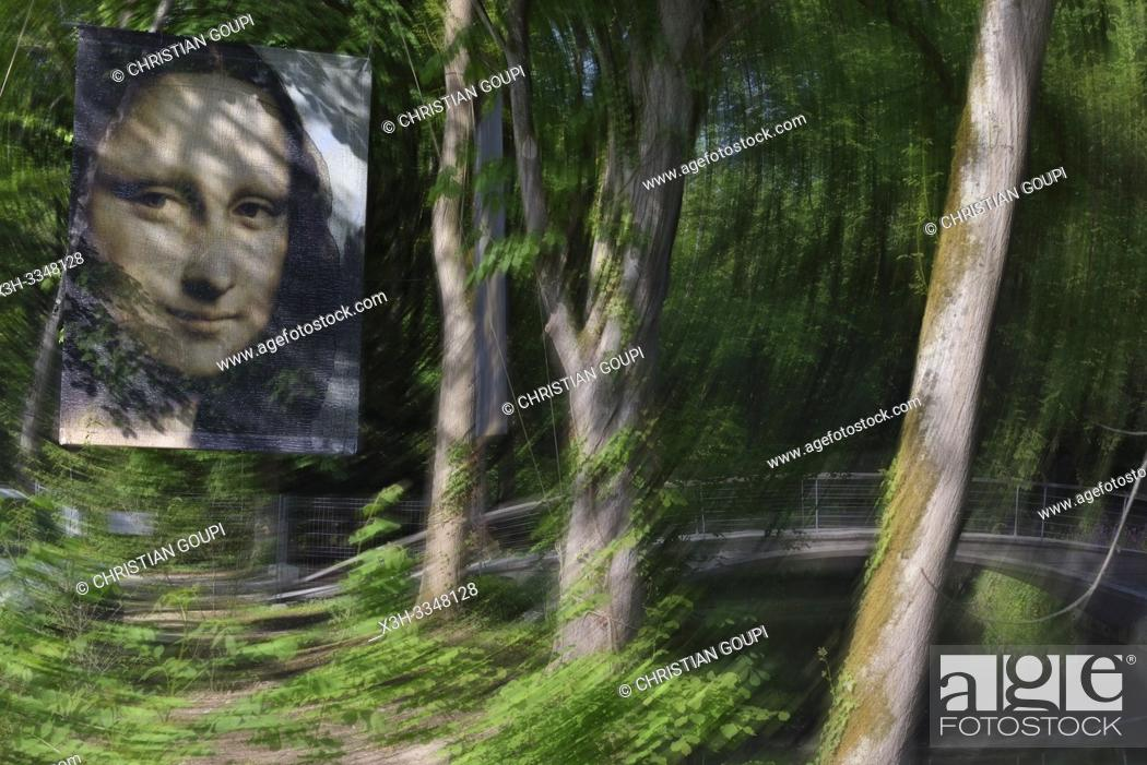 Stock Photo: poster with effigy of ''Mona Lisa'' in the park of Clos-Luce that was the residence of Leonardo da Vinci, Amboise, Touraine, department of Indre-et-Loire.