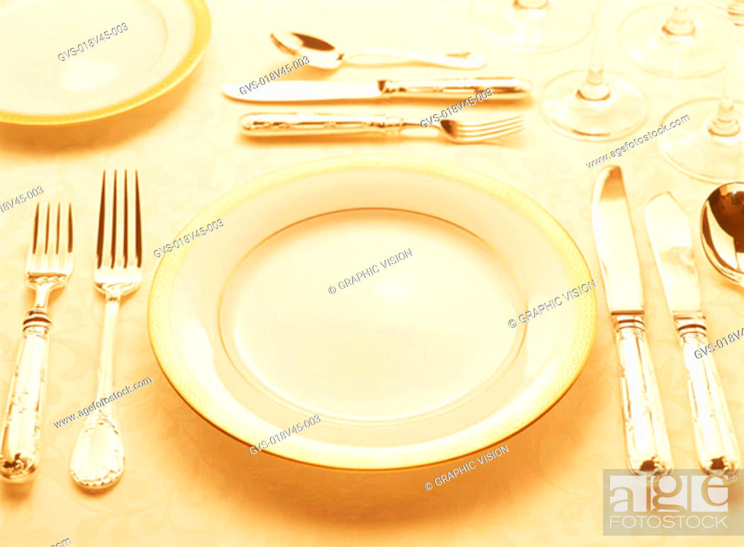 Stock Photo: Single Place Setting on a Table.