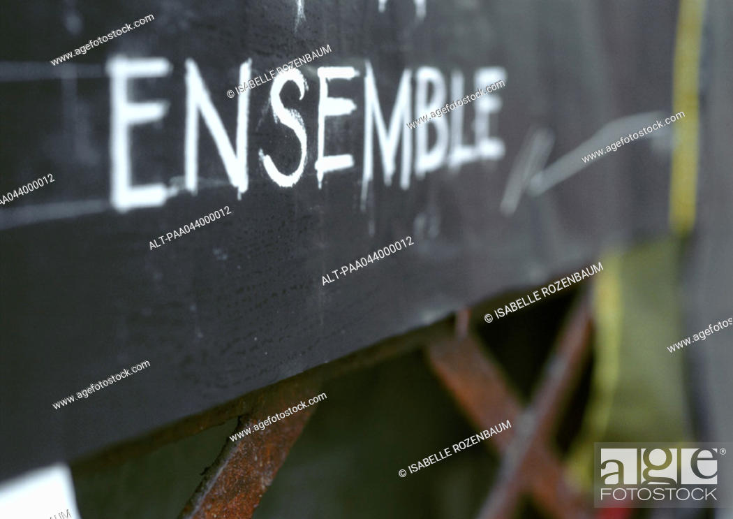 Stock Photo: 'Together' text in French, on blackboard.