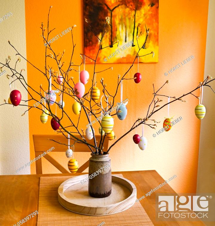 Stock Photo: Easter tree decorated with colorful Easter eggs.