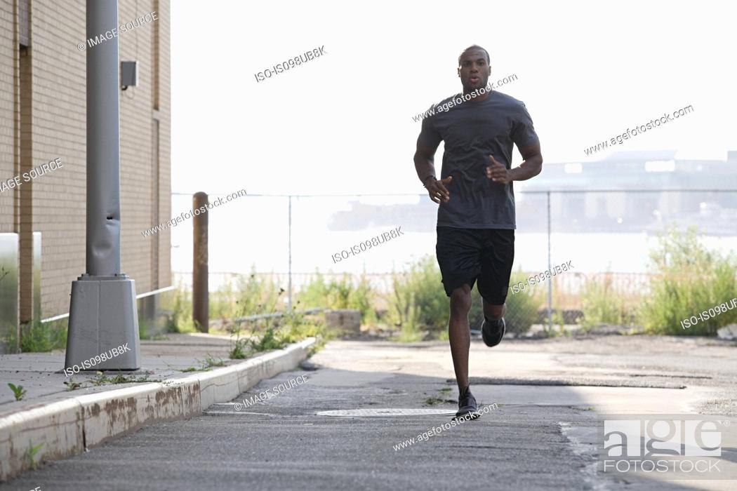 Stock Photo: Male runner in brooklyn.