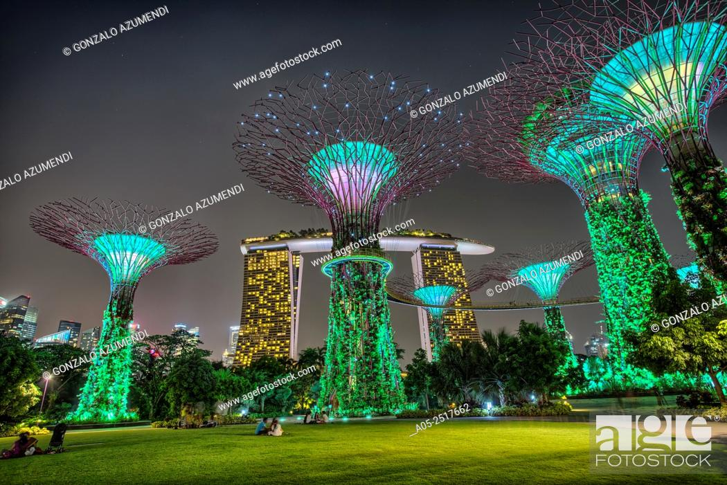 Stock Photo: The Supertree Grove. Gardens By The Bay. Marina Bay Sands Hotel. Singapore. Asia.