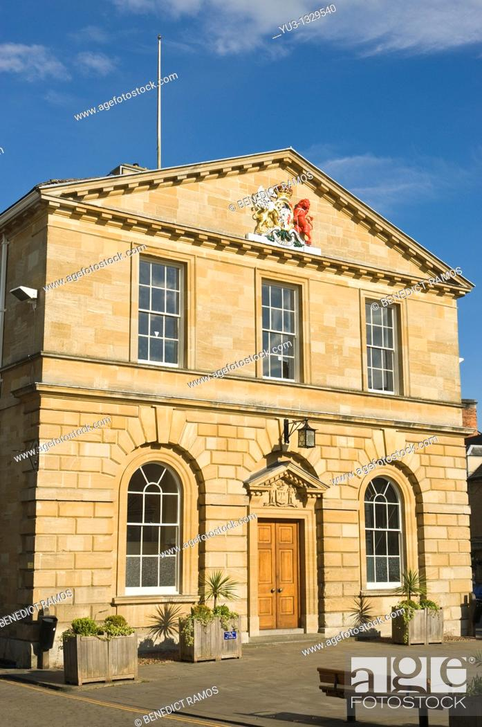 Stock Photo: Woodstock town hall designed by William Chambers RA, Woodstock, Oxfordshire, England, UK.