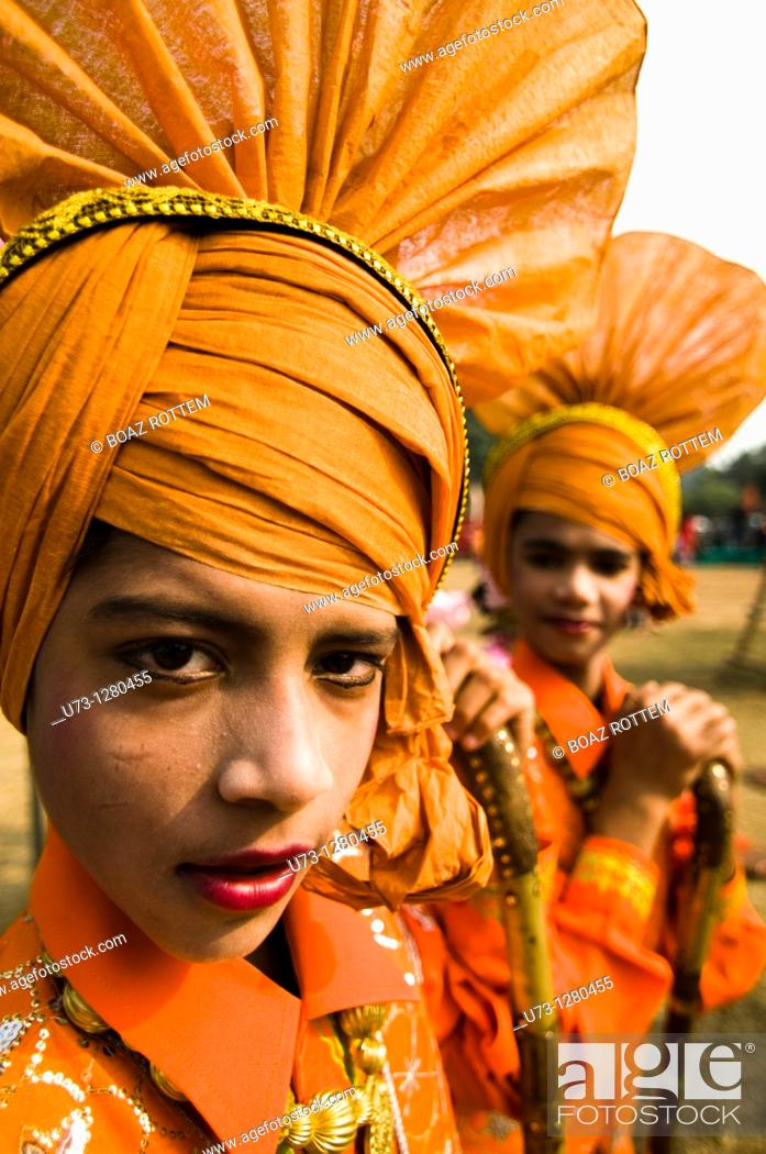 Stock Photo: Bhangra dancers during a colorful performance in Punjab, India.