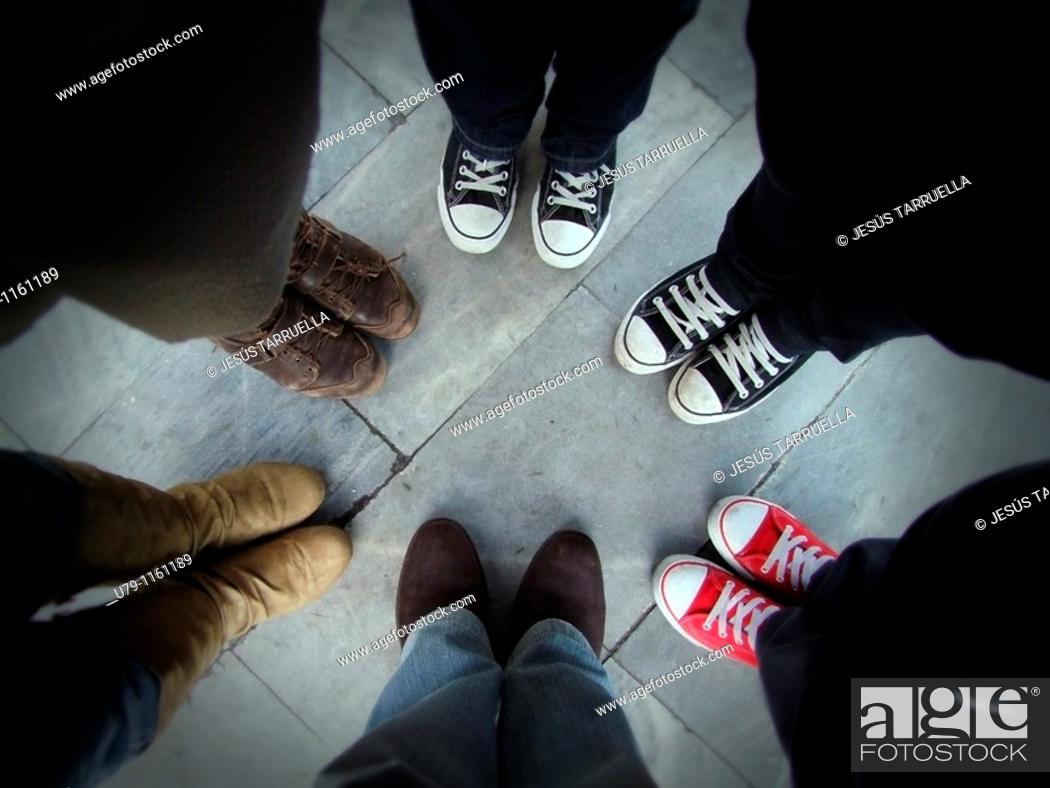 Stock Photo: Group of six feet photographed from above.