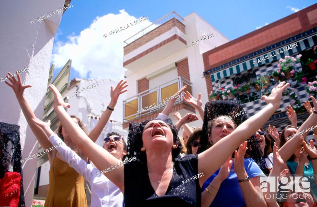 Stock Photo: 'Cruces de Mayo', local festival. Berrocal. Huelva province. Spain.