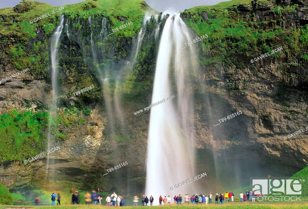 Stock Photo: Seljalandsfoss Falls in Eyjafjoll Cliffs One of the Highest Falls in Iceland.