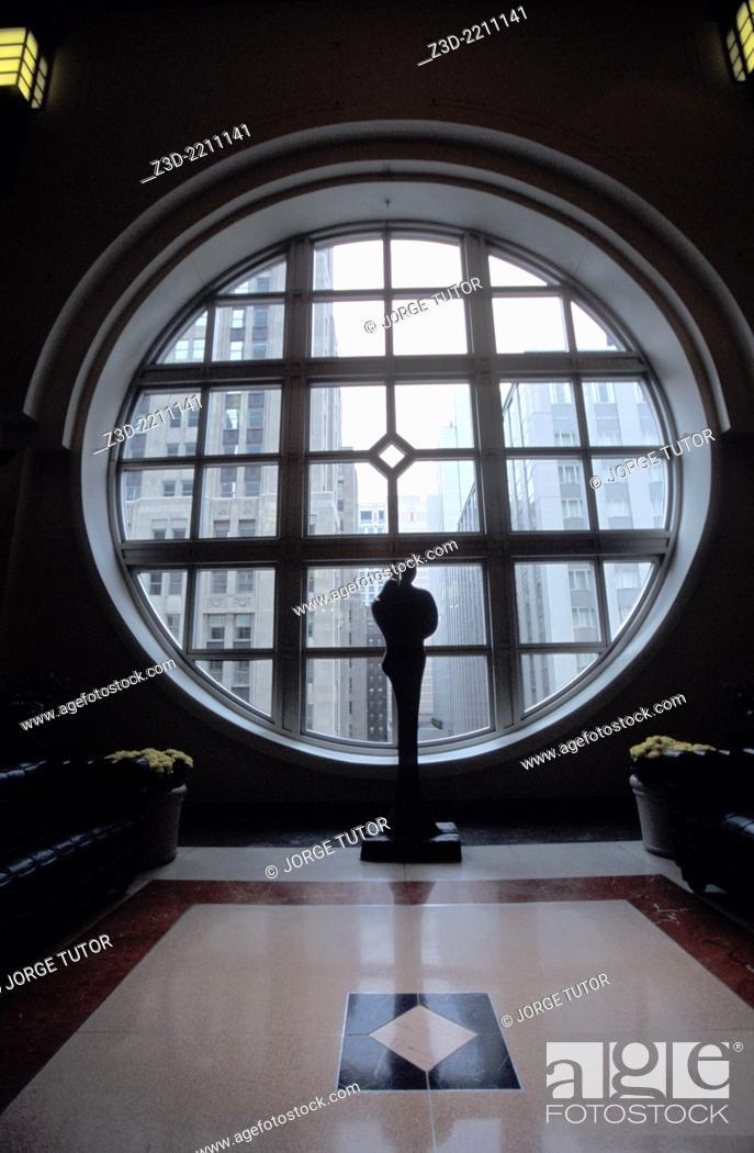 Stock Photo: Art Deco sculpture in 900 North Michigan Shops. Chicago.