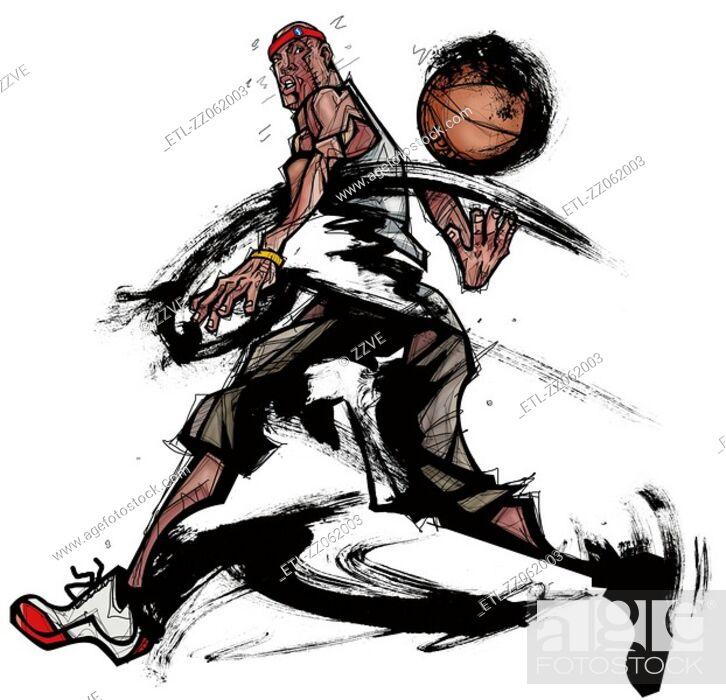 Stock Photo: Basketball player playing with basketball.
