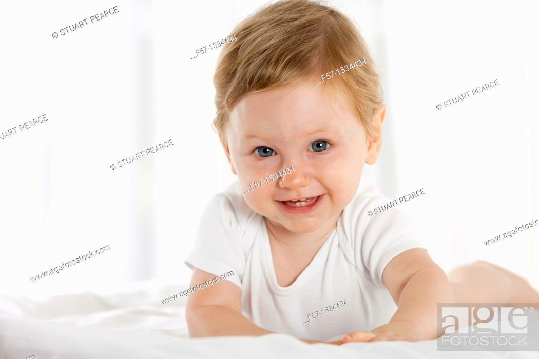 Stock Photo: 8 month old baby boy.