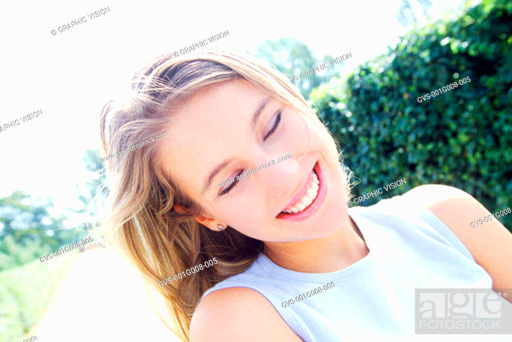 Stock Photo: Close-up of a woman smiling.