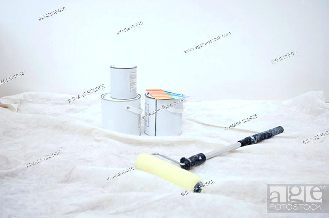 Stock Photo: Paint and roller for decorating.