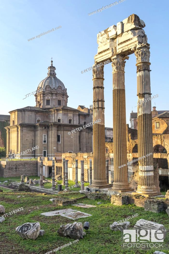 Stock Photo: Early morning, looking across The Roman, Forum of Caeser, an extension of the Forum Romanum, with the temple of Venus Genetrix in the foreground, Rome, Italy.