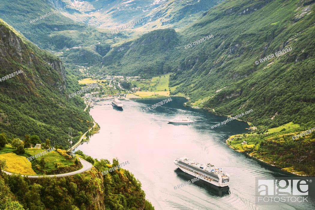 Stock Photo: Geirangerfjord, Norway. Touristic Ship Ferry Boat Cruise Ship Liner Floating Near Geiranger In Geirangerfjorden In Summer Day.