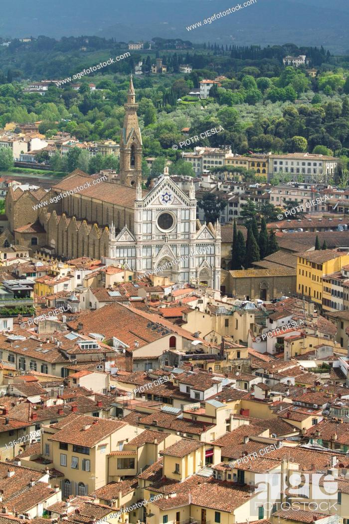 Stock Photo: Florence View from the cupola of the Santa Maria del Fiore towards the south Santa Croce.