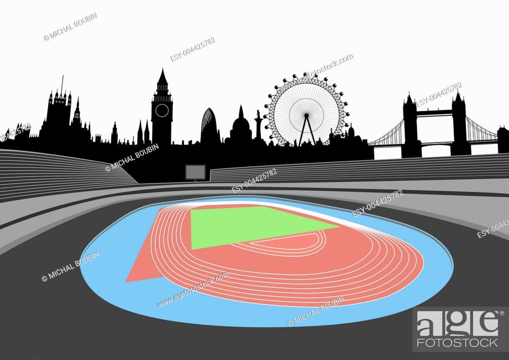 Stock Photo: stadium with London skyline.