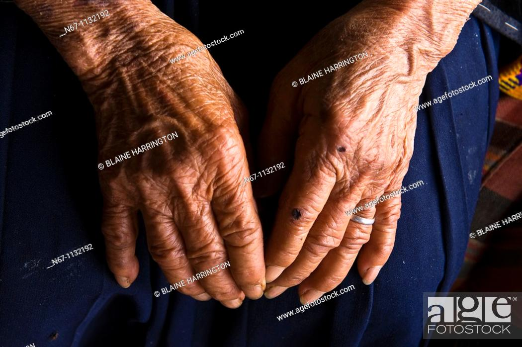Stock Photo: 90 year old woman, Hmong tribe village, Mae Rim District, Highlands near Chiang Mai, Northern ThailandChiang Mai, Northern Thailand.