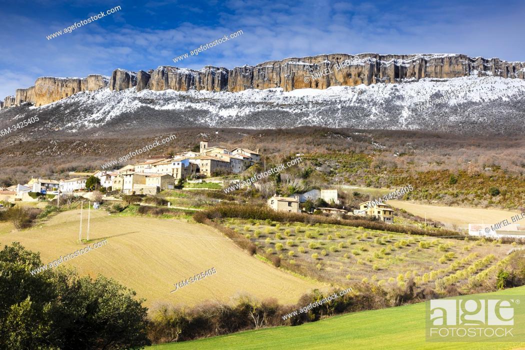 Stock Photo: Aramendia village and Loquiz Sierra. Navarre, Spain, Europe.