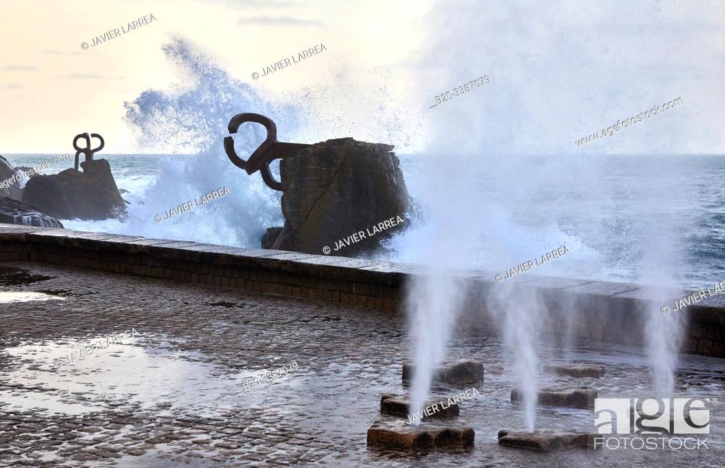 "Stock Photo: """"""Peine del Viento"""" (Comb of the Wind), Eduardo Chillida sculpture, Donostia, San Sebastian, Gipuzkoa, Basque Country, Spain, Europe."