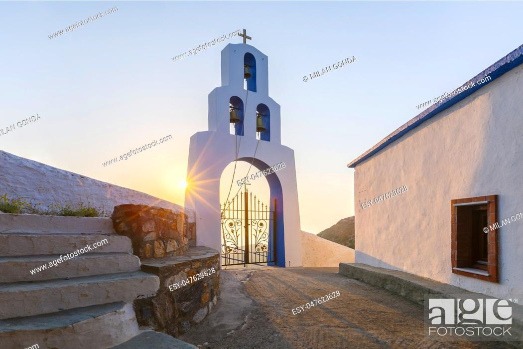 Stock Photo: Morning at Panagia church on Fourni island in Greece. .