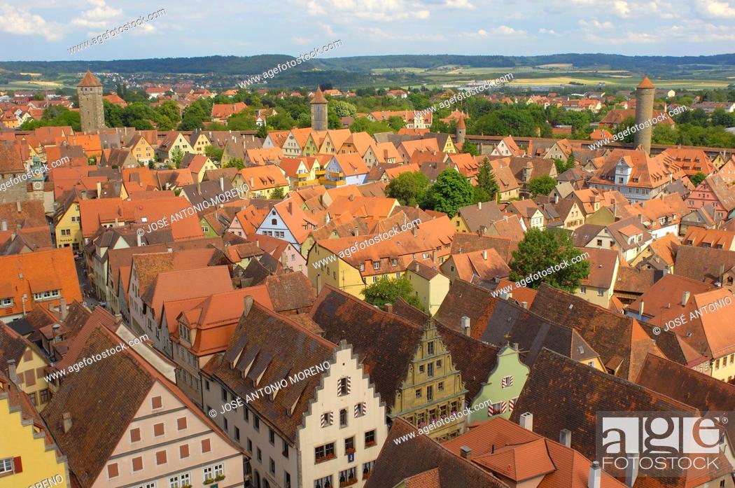 Stock Photo: Rothenburg ob der Tauber, Romantic Road, Romantische Strasse, Franconia, Bavaria, Germany, Europe.