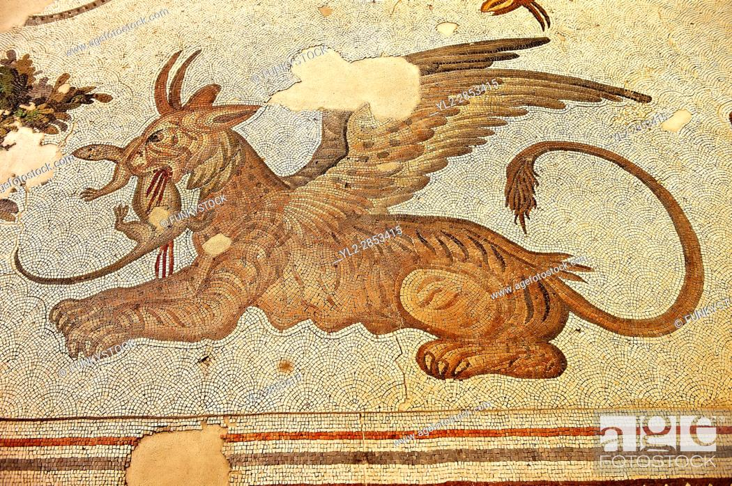 Stock Photo: 6th century Byzantine Roman mosaics of a mythical Griffin from the peristyle of the Great Palace from the reign of Emperor Justinian I.