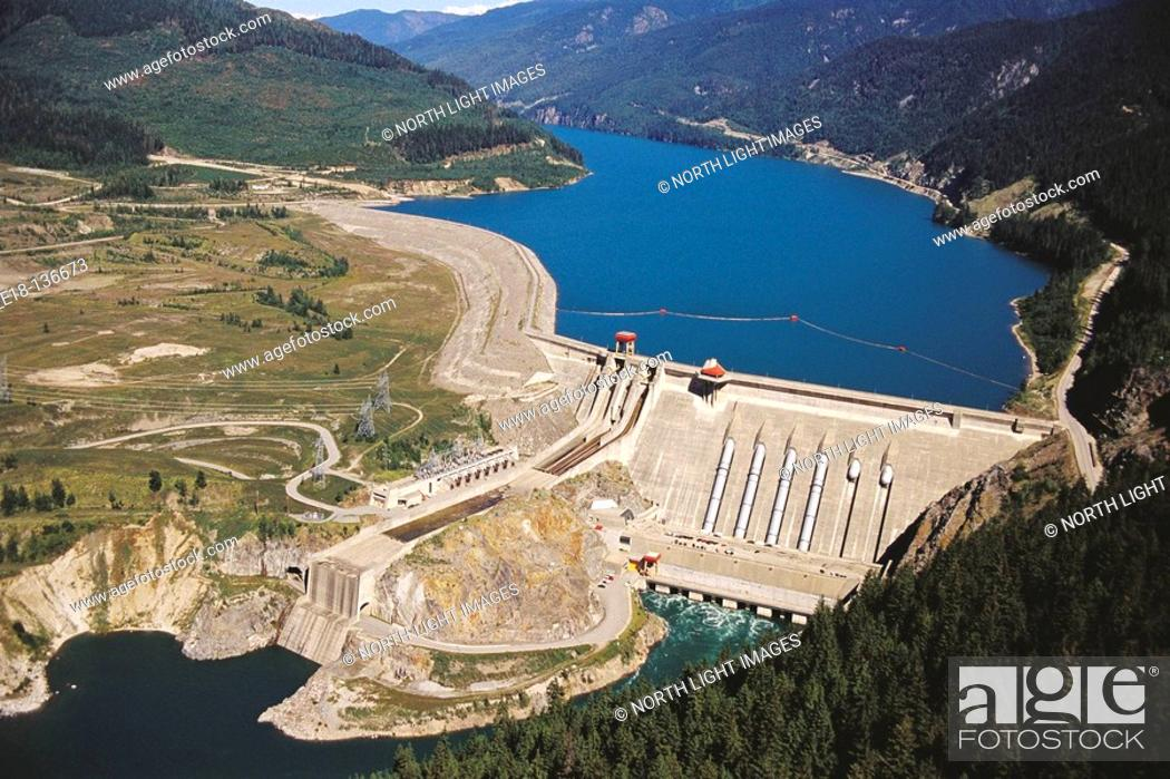 Stock Photo: Revelstoke dam, Columbia River. British Columbia, Canada.