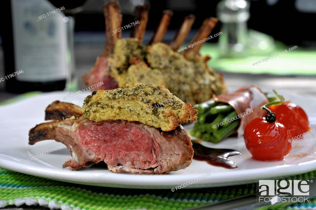 Stock Photo: Grilled rack of lamb with sides.