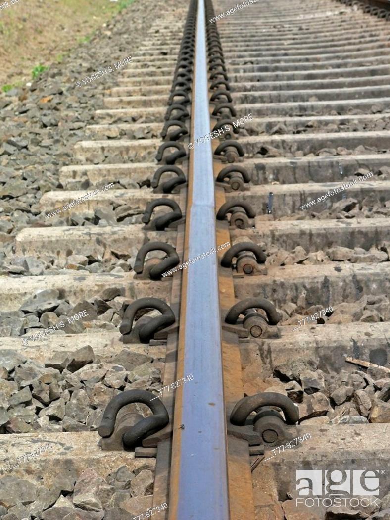 Stock Photo: Close-up of Railroad tracks Ramdarya, Pune, Maharashtra, India.