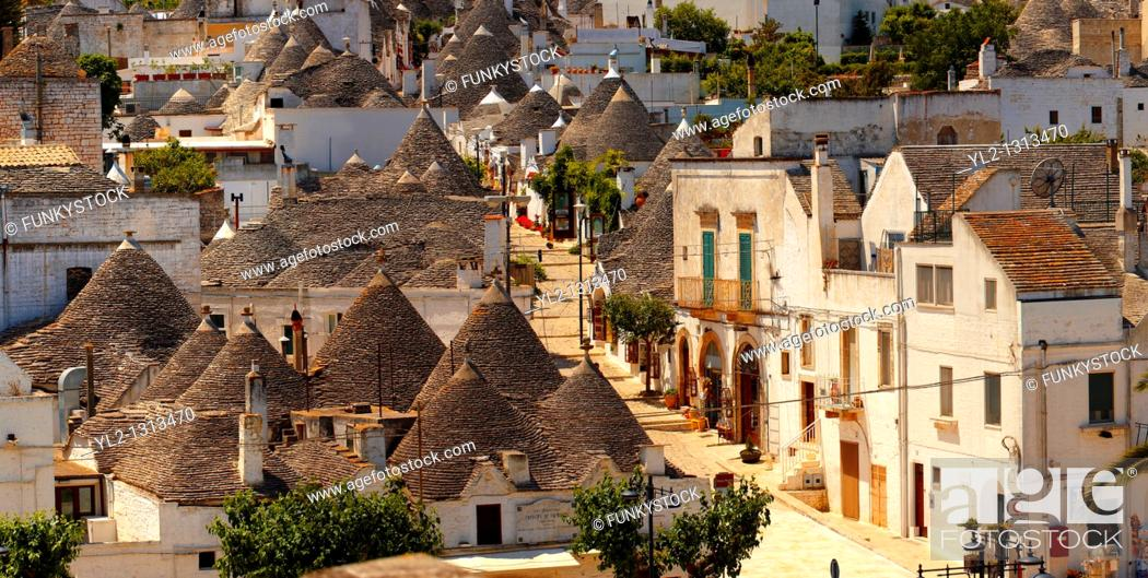 Stock Photo: Trulli houses of the Rione Monti Area of Alberobello, Puglia, Italy.