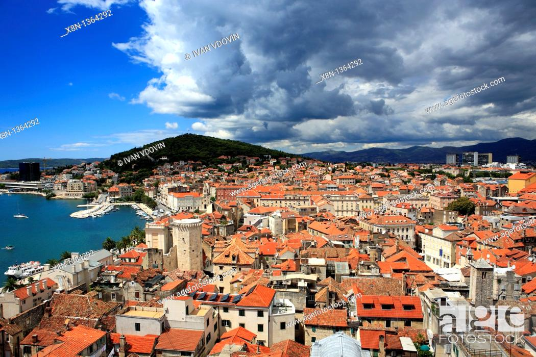 Stock Photo: View of the city from the bell tower of the cathedral, Split, Split-Dalmatia county, Croatia.