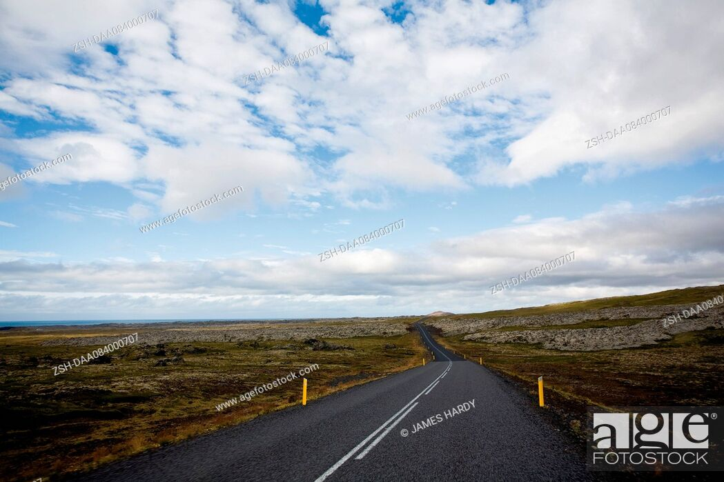 Stock Photo: Route number 574 through flat countryside, Iceland.