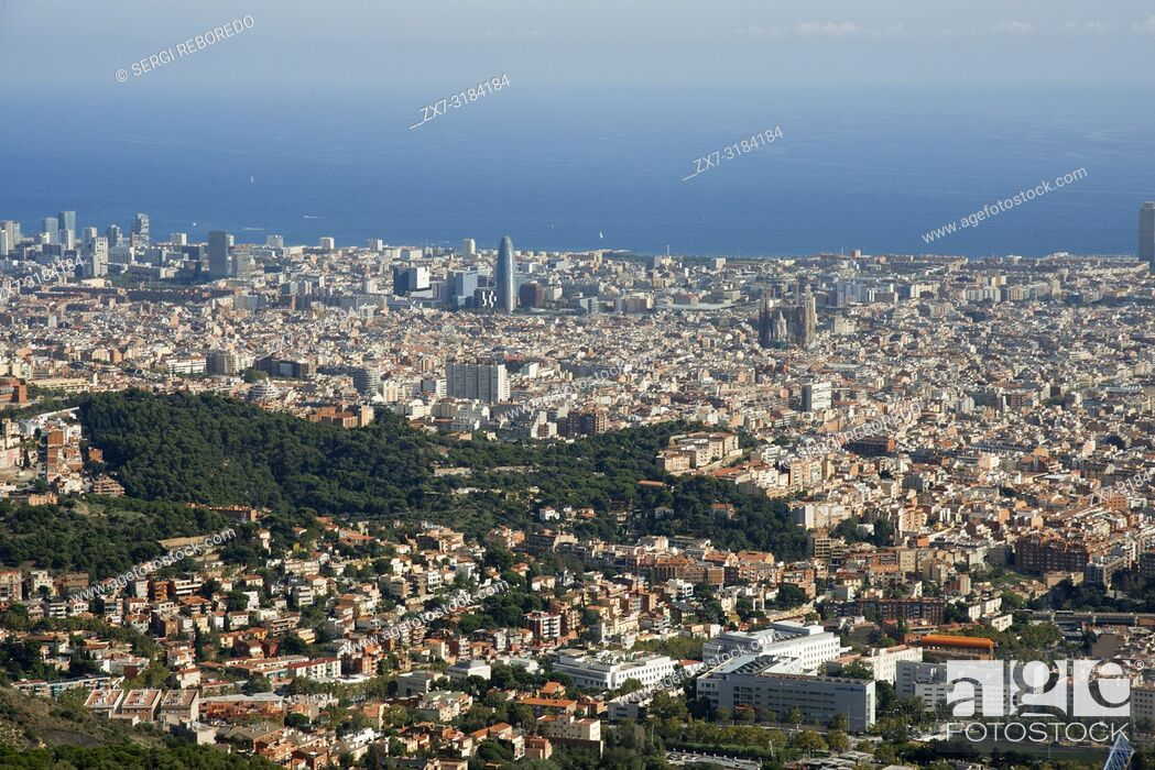 Stock Photo: View and skyline of Barcelona from Mount Tibidabo.
