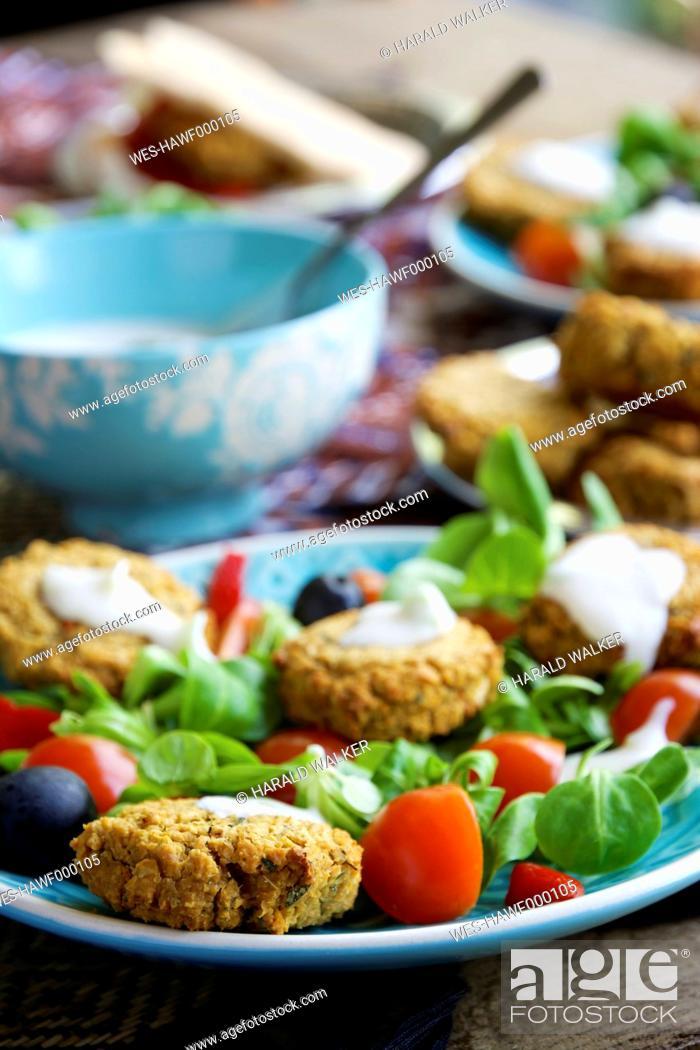 Stock Photo: Falafel Salad with home made baked falafel.