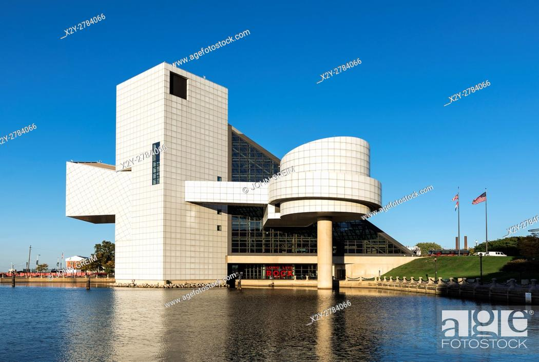 Stock Photo: Rock and Roll Hall of Fame, Cleveland, Ohio, USA.