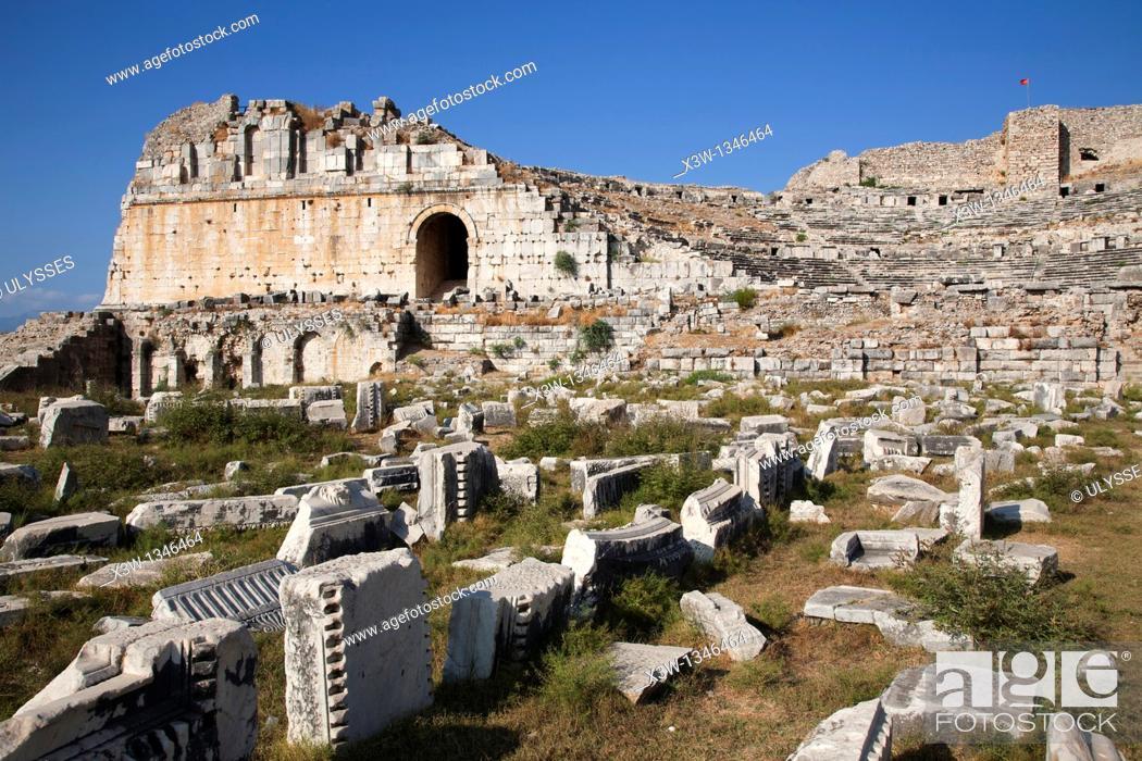Stock Photo: theatre, archeological area, miletus, southern aegean coast, turkey, asia.