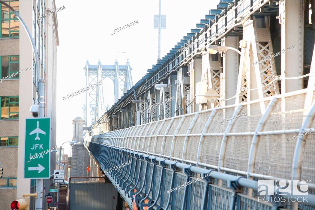 Stock Photo: Airport sign beside outer barrier of Manhattan Bridge.