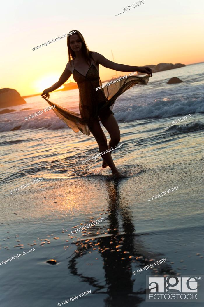 Stock Photo: Young Woman On Beach.
