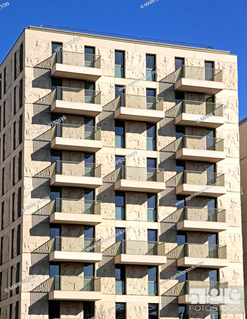 Stock Photo: New apartments East Village Olympic Park Stratford London.